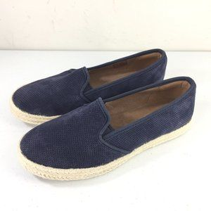 Clarks 7 Navy Blue Perforated Espadrille Flats